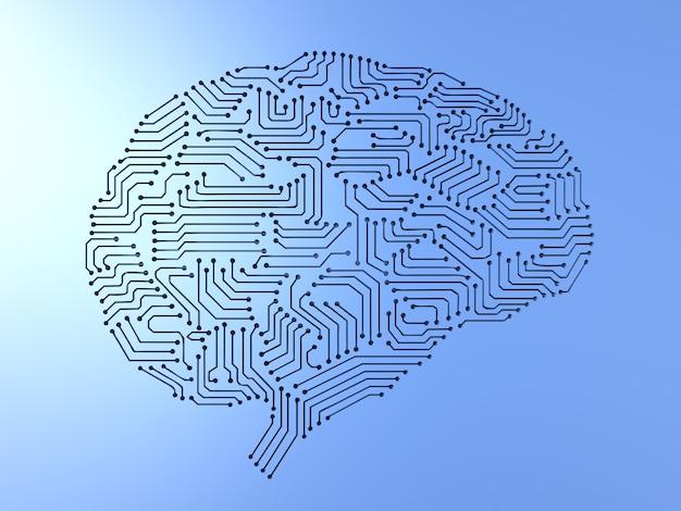 3d-рендеринг мозга искусственного интеллекта или печатной платы в форме мозга