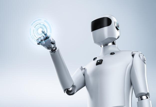 白い背景の上の人工知能サイボーグまたはロボットの指先の3dレンダリング