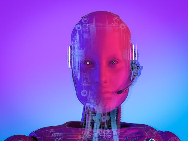 3d-рендеринг искусственного интеллекта киборга или робота с гарнитурой в неоновом свете