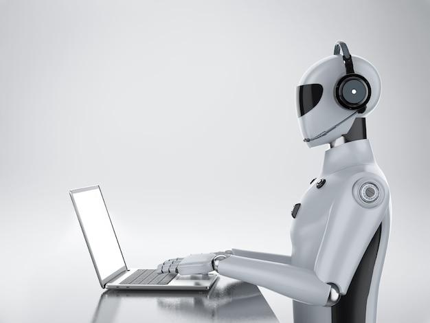 3d-рендеринг искусственного интеллекта киборга или робота, работающего с гарнитурой и компьютерным ноутбуком