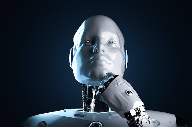 3d rendering artificial intelligence robot or cyborg analyze isolated on black background