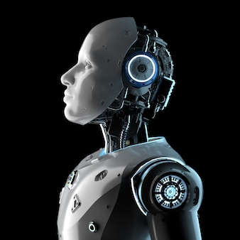 3d rendering artificial intelligence robot or cyborg isolated on black background