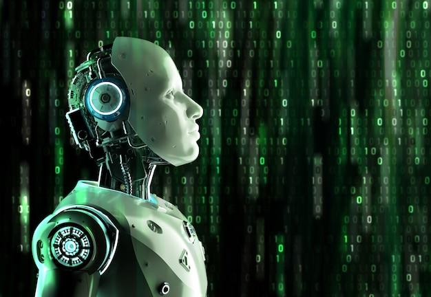매트릭스 배경에 3d 렌더링 인공 지능 로봇 또는 사이보그