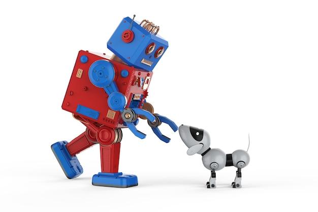 3d-рендеринг робота с искусственным интеллектом и собакой-роботом