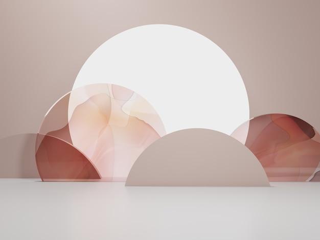 3dレンダリングアジア中国日本または韓国スタイルの製品ディスプレイの背景シャイニームーン水彩ガラススクリーンとお祝いの食品飲料と美容製品のための切り絵の小道具