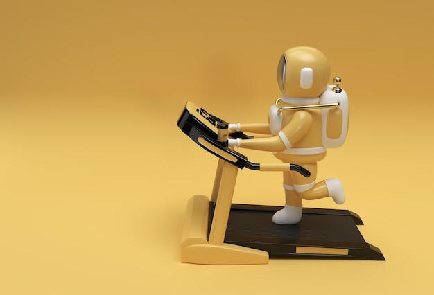 未来的な背景でトレッドミルマシンを実行している3dレンダリング宇宙飛行士。