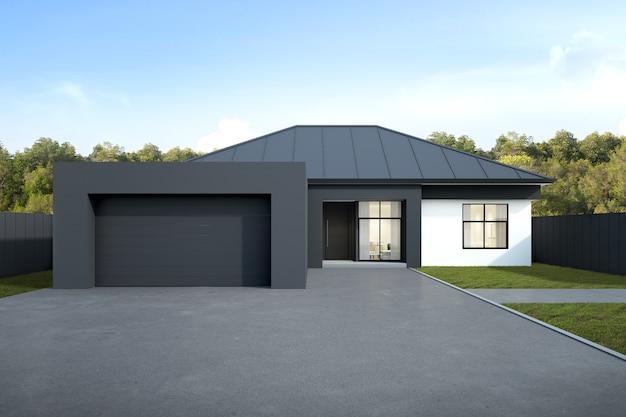 3d rendering of australian modern luxury house with garage