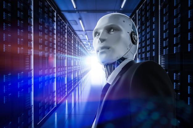 サーバールームで動作する3dレンダリング自動化ロボット