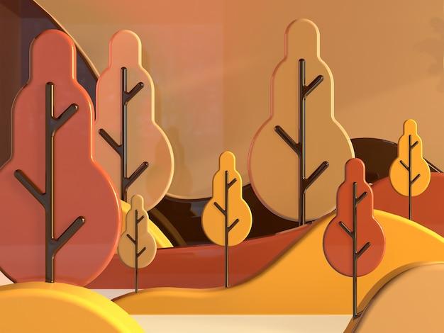 3dレンダリングの紅葉の背景リアルな漫画の外観夏の背景