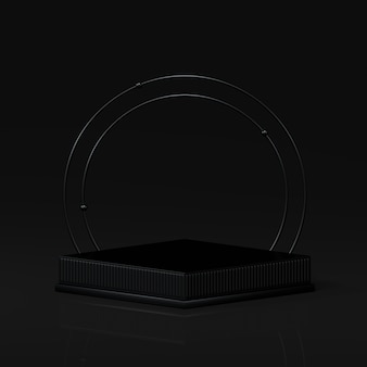 3d rendering awards podium in harmony with black color.