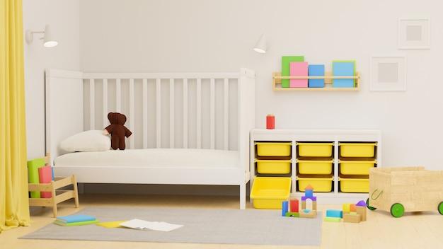 3d-рендеринг дизайн интерьера детской спальни с плохим шкафом, игрушки, куклы и книжная полка на стене, 3d иллюстрация