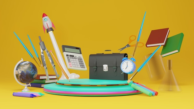 3d rendering back to school message and school supplies ., 3d illustration.