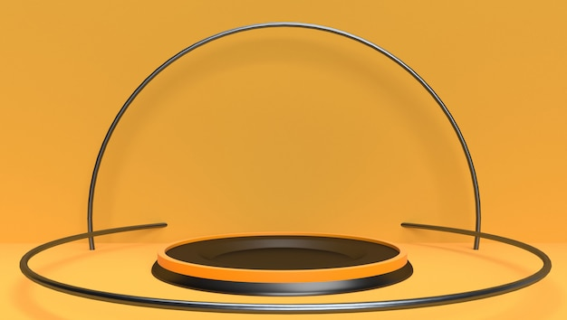 3d rendering background of abstract geometric, scene, podium, stage and display  . yellow and black theme.