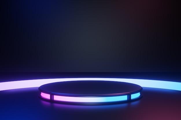 3dレンダリングの背景。周りに青ピンクの光が当たる黒いシリンダーステージの表彰台は、暗い背景に反射します。プレゼンテーション用の画像。