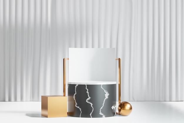 3d 렌더링 배경입니다. 흰색 커튼 배경에 금 상자 구가 있는 검은색 대리석 실린더 무대 연단. 프레젠테이션용 이미지입니다.