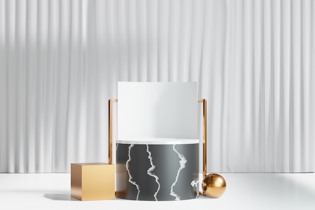 3d rendering background. black marble cylinder stage podium with gold box sphere on white curtain background. image for presentation.