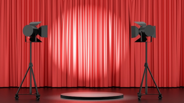 3d-рендеринг фона. черная сценическая подиумная продукция с большой стойкой для прожекторов и глянцевым фоном занавеса. изображение для презентации.