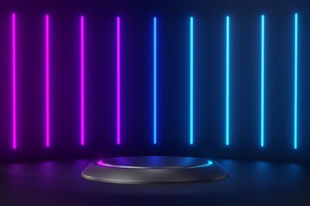 3d 렌더링 배경입니다. 어두운 미래의 배경과 보라색 푸른 빛이 있는 빈 무대, 미래의 현대적인 인테리어 컨셉입니다. 제품 검은 배경에 대한 쇼케이스