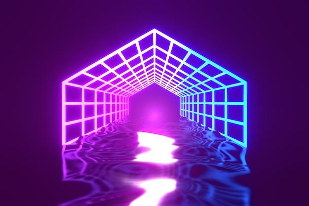 3d 렌더링 배경입니다. 어두운 미래 배경과 푸른 빛 반사가 있는 육각형 와이어프레임. 제품 배경을 위한 진열장