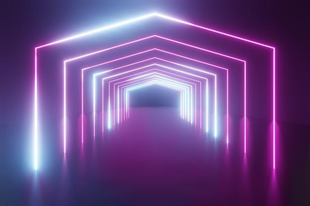 3dレンダリングの背景。暗い未来の背景と青い光の反射と六角形のワイヤーフレーム。製品の背景のショーケース