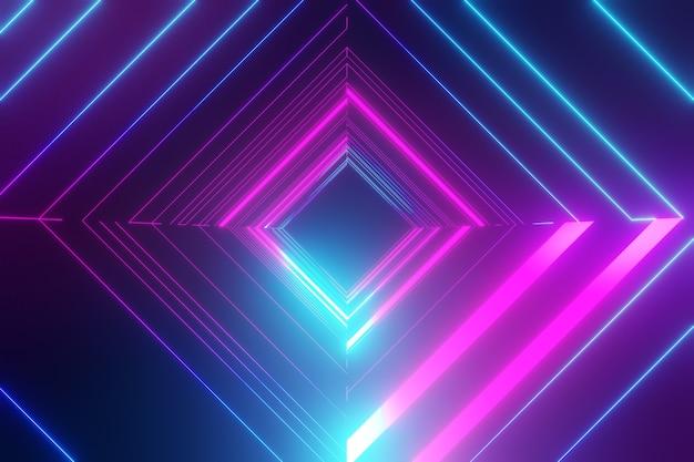 3dレンダリングの背景。暗い未来の背景と青い光の反射と正方形のチューブワイヤーフレーム。製品の背景のショーケース