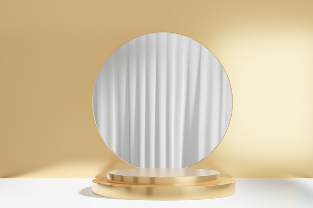 3d rendering background. gold cylinder stage podium with round circle gold wall on white curtain background. image for presentation.