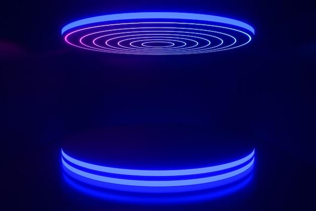 3dレンダリングの背景。暗い背景にトップライトサークル形状で反射するledサークルブルーグロー表彰台。プレゼンテーション用の画像。