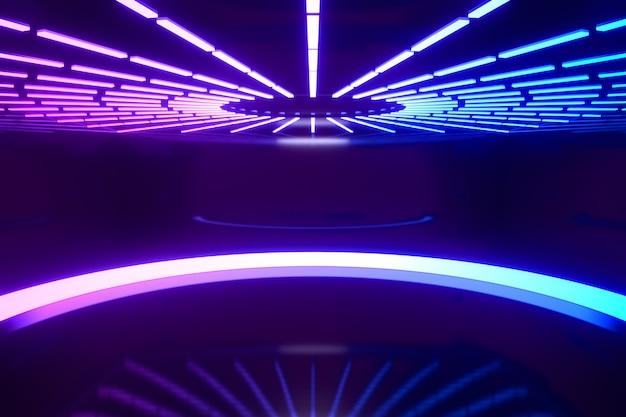 3dレンダリングの背景。チューブライトで反射する周りのledサークルブルーピンクライトは、暗い背景に丸く整列します。プレゼンテーション用の画像。