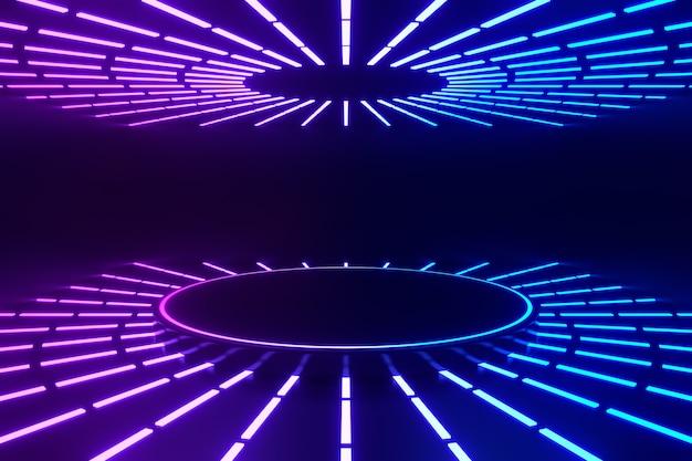 3dレンダリングの背景。チューブライトで反射するledサークルブルーピンクの表彰台は、暗い背景に丸く整列します。プレゼンテーション用の画像。
