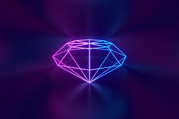 3dレンダリングの背景。暗い背景に反射するledダイヤモンドピンクブルーの輝き。
