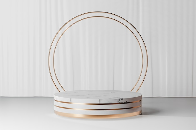 3d rendering background. marble white gold cylinder stage podium with two ring gold wall on white curtain background. image for presentation.