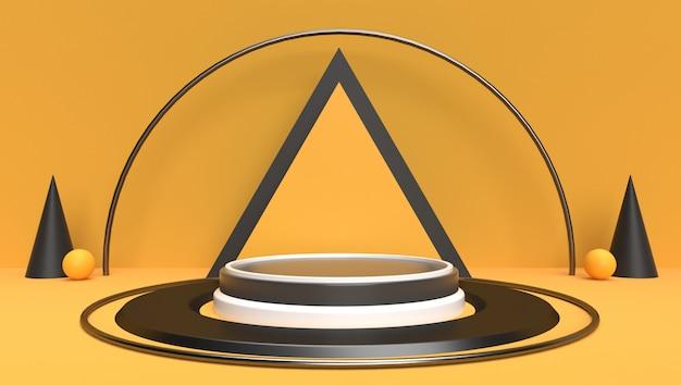 Предпосылка перевода 3d абстрактного геометрического, сцены, подиума, этапа и дисплея. желтая и черная тема.
