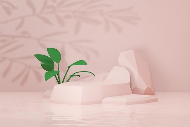 3d 렌더링 배경입니다. 파스텔 핑크 돌 무대 연단 야자수 잎 그림자와 녹색 잎. 프레젠테이션용 이미지입니다.