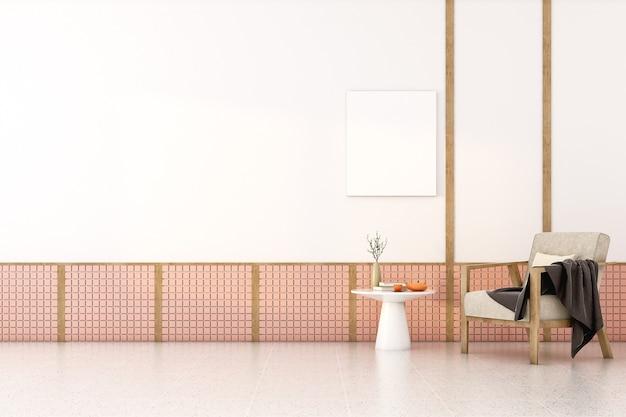 3d визуализация фона скандинавская комната с пустым плакатом на стене