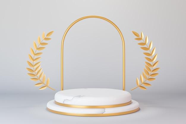3dレンダリングの背景。白い背景にゴールドオリーブの葉とアーチ形の大理石のホワイトゴールドシリンダーステージ表彰台をステップします。プレゼンテーション用の画像。
