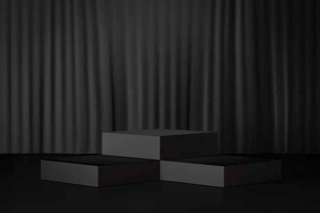 3d 렌더링 배경입니다. 검은 커튼 배경에 세 개의 검은 블록 무대 연단. 프레젠테이션용 이미지입니다.