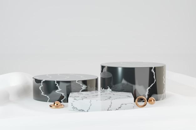 3d 렌더링 배경입니다. 흰색 천 배경에 3개의 대리석 검정 흰색 실린더 무대 연단. 프레젠테이션용 이미지입니다.