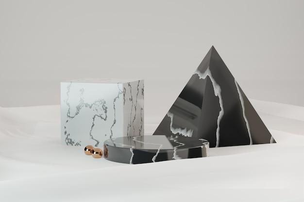 3d 렌더링 배경입니다. 흰색 천 배경에 3개의 대리석 검정 흰색 모델 기하학적 모양. 프레젠테이션용 이미지입니다.