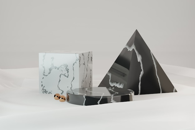 3d rendering background. three marble black white model geomatric shape on white cloth background. image for presentation.