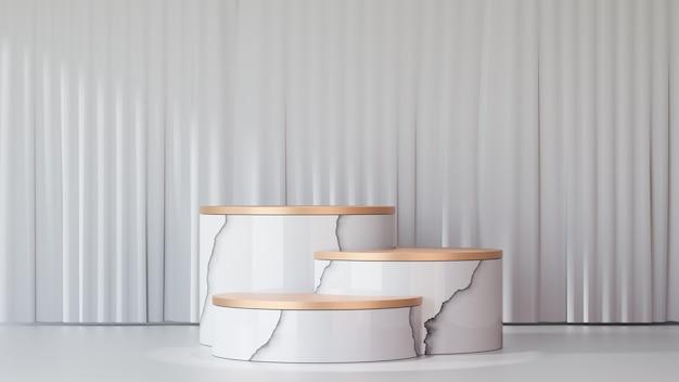 3dレンダリングの背景。白いカーテンウォールを備えた3つの大理石のホワイトゴールドステージ表彰台ディスプレイ製品。プレゼンテーション用の画像。