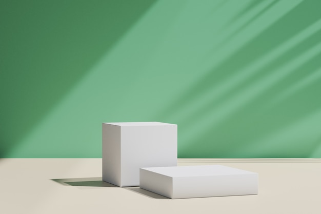 3d rendering background. two box for place products on green wall with sun light shadow. image for presentation.