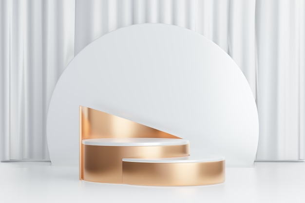 3d rendering background. two white gold cylinder stage podium with round circle wall on white curtain background. image for presentation.