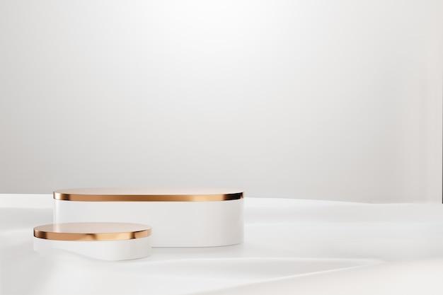 3d 렌더링 배경입니다. 흰색 천 배경에 두 개의 흰색 모델 기하학적 모양입니다. 프레젠테이션용 이미지입니다.