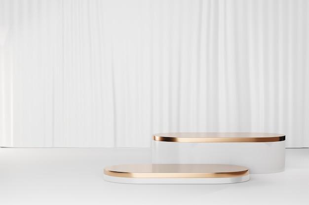 3d 렌더링 배경입니다. 흰색 커튼 배경에 두 개의 흰색 모델 기하학적 모양입니다. 프레젠테이션용 이미지입니다.