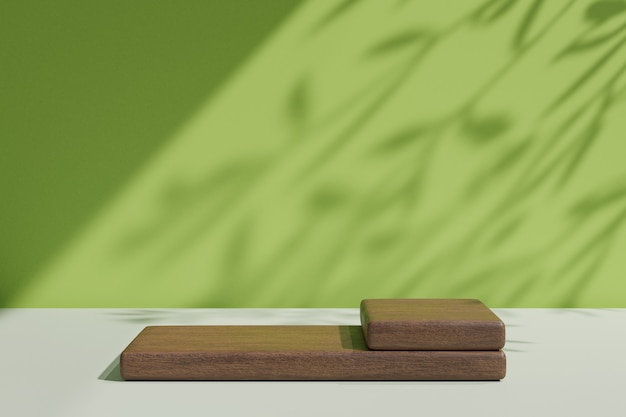 3d 렌더링 배경입니다. 태양 빛 나무 그림자가 있는 파스텔 녹색 벽에 제품을 위한 두 개의 나무 블록. 프레젠테이션용 이미지입니다.