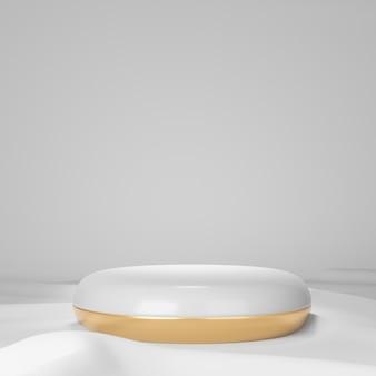 3dレンダリングの背景。ホワイトゴールドのシリンダーステージドーナツ型の表彰台と白い布の床。プレゼンテーション用の画像。