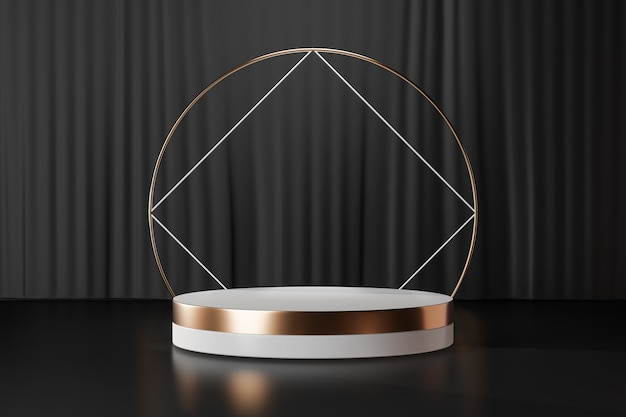 3d rendering background. white gold cylinder stage podium with square ring gold wall on black curtain background. image for presentation.