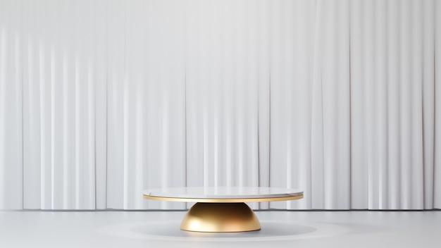 3dレンダリングの背景。白い大理石の円の表彰台は、白いきれいなカーテンの背景を持つ金球に製品を表示します。プレゼンテーション用の画像。
