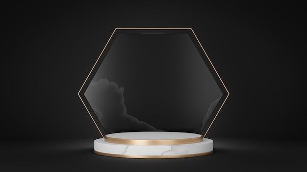 3dレンダリングの背景。白い大理石の金のシリンダーステージの表彰台と黒の背景に戻る金の六角形のリングの装飾。プレゼンテーション用の画像。