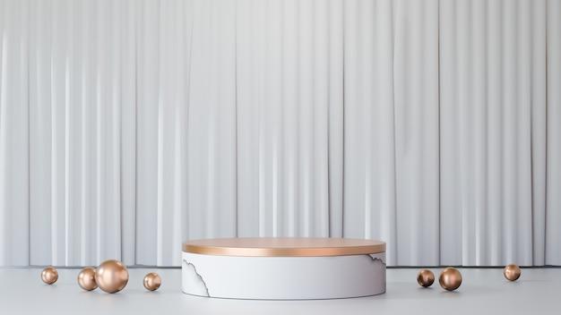 3dレンダリングの背景。白い大理石の金の表彰台は、白いきれいなカーテンの背景に金のボールで製品の装飾を表示します。プレゼンテーション用の画像。